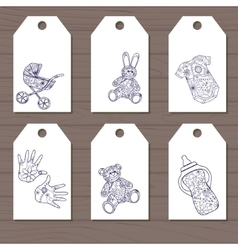 Set of simple baby goods tags vector image