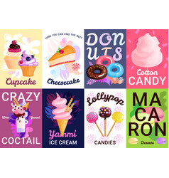 trendy sweets posters banner set vector image