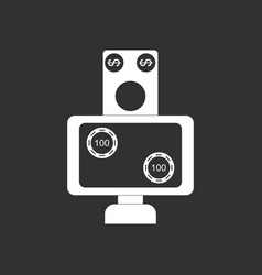 White icon on black background money equal chips vector