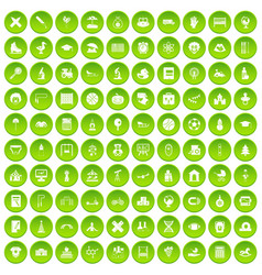 100 kids icons set green circle vector image