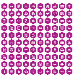 100 property icons hexagon violet vector image vector image