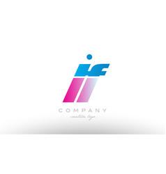 lf l f alphabet letter combination pink blue bold vector image vector image