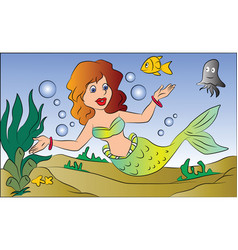 mermaid swimming underwater vector image vector image