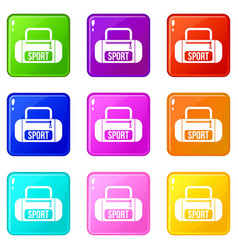 sports bag icons 9 set vector image