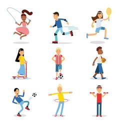 teenagers doing different sport set children vector image