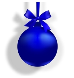 Blue ball with a bow and place for an inscription vector image