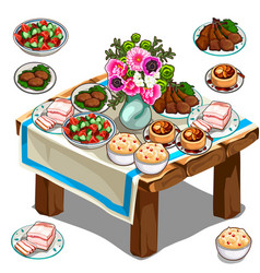 festive table with delicious food and flowers vector image