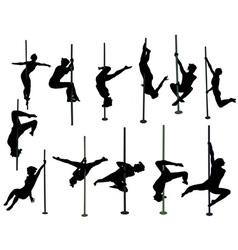 Girl dancing around the pole vs vector