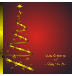 new year card with abstract fir and golden christm vector image