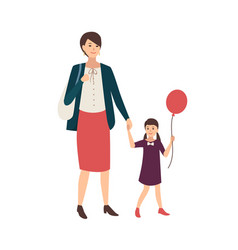 pair of mother and daughter holding hands and vector image vector image