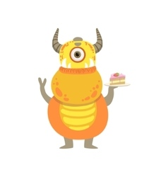 Yellow Friendly Monster With Horns And Cake vector image