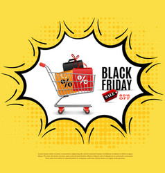 black friday comic bubble poster vector image vector image