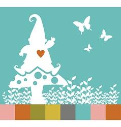 Christmas elf silhouette on a mushroom greeting vector image vector image