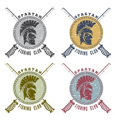 grunge spartan fishing club labels with warrior vector image