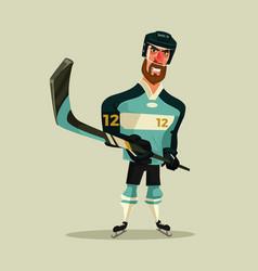 happy smiling hockey player character mascot vector image vector image
