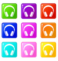 headphones icons 9 set vector image vector image