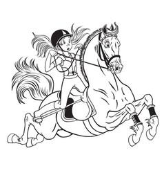 Little girl on a pony horse vector