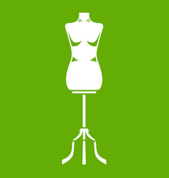 sewing mannequin icon green vector image vector image