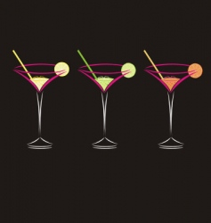 three cocktails vector image vector image