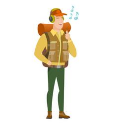traveler listening to music in headphones vector image vector image