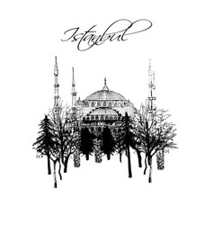 turkey istanbul - hand drawn set vector image
