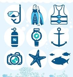 Underwater icons vector image