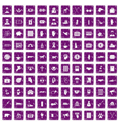 100 donation icons set grunge purple vector image