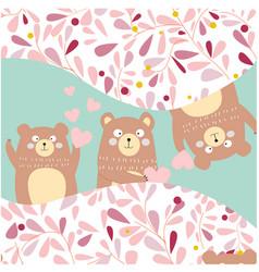 3 silly teddy bears peak a boofor birthday card vector