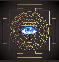 All seeing eye sri yantra or sri chakra form of vector