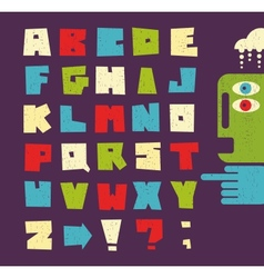Alphabet letters in retro style vector image