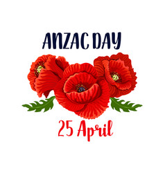 Anzac day poppy 25 april australian icon vector