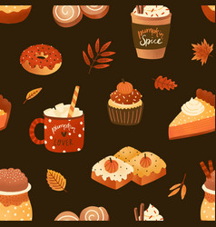 Autumn desserts flat seamless pattern pumpkin vector