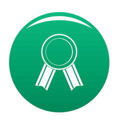 award ribbon icon green vector image
