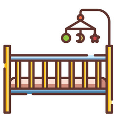 Baby crib linecolor vector