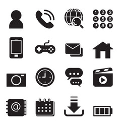 Basic smart phone application icons set vector