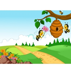 Bees cartoon holding flower and a beehive with for vector