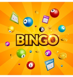 Bingo lottery poster Balls numbers falling luck vector