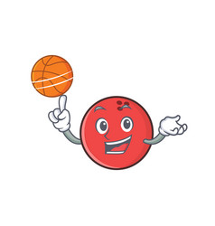 Bowling ball character cartoon playing basketball vector