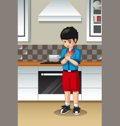Boy burned his hand in the kitchen vector