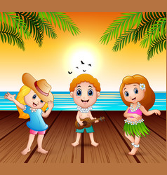 boy playing guitar and hawaiian girl hula dancing vector image