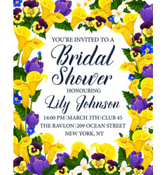 bridal shower party invitation card with flower vector image