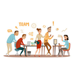 business people teamwork workers in office working vector image