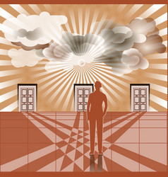 businessman stands in front of three closed doors vector image