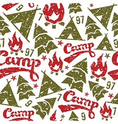 Camping seamless patterns vector image