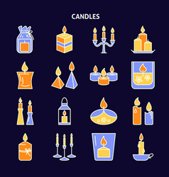 candle icons set in colored line style on dark vector image