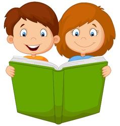 Cartoon boy and girl reading book vector