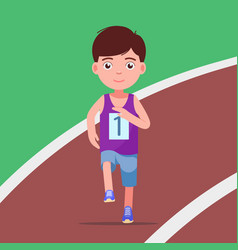 Cartoon boy running a marathon in a stadium vector