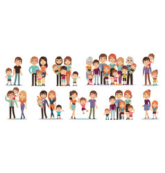 cartoon family characters mother and father son vector image