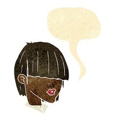 Cartoon fashion haircut with speech bubble vector