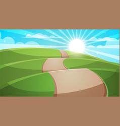 Cartoon hill landscape road travel vector